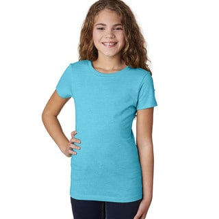 Next Level Girls' The Princess CVC Bondi Blue T-Shirt