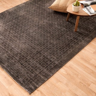 Hand-woven Grandeur Charcoal Viscose Rug (5'6 x 8'6)