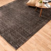 Hand-woven Grandeur Charcoal Viscose Rug - 5'6 x 8'6