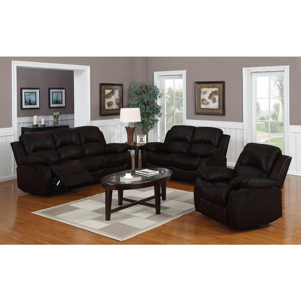 Beau Classic Oversize And Overstuffed Real Leather Sofa, Loveseat, And Single  Chair Recliners