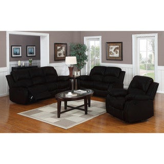 Classic Oversize and Overstuffed Real Leather Sofa, Loveseat, and Single Chair Recliners