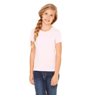 Jersey Girl's Pink Cotton and Polyester Short-sleeve T-shirt