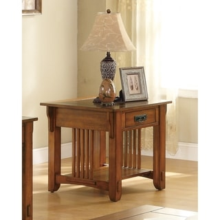 Coaster Company Drawer End Table with Shelf (Warm Brown)