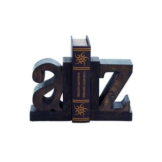 A to Z' Rustic Wood Bookends