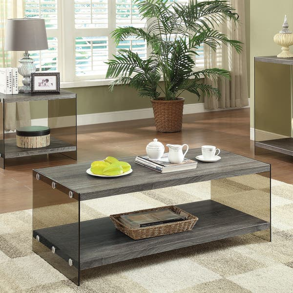 Fine Coaster Company Weathered Grey Glass Coffee Table Short Links Chair Design For Home Short Linksinfo