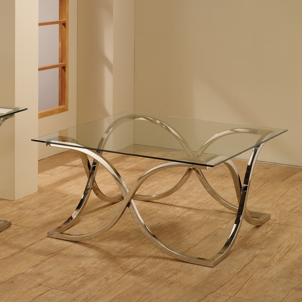 Shop Coaster Company Chrome Tempered Glass Coffee Table
