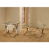 Coaster Company Square Chrome and Glass End Table
