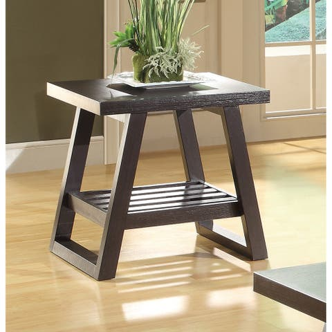 """Coaster Company Cappuccino Wood End Table - 21.75"""" x 19.75"""" x 21"""" (As Is Item)"""