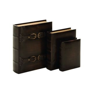 Brown Leather-look 8-inch/10-inch/13-inch Book Boxes (Pack of 3)