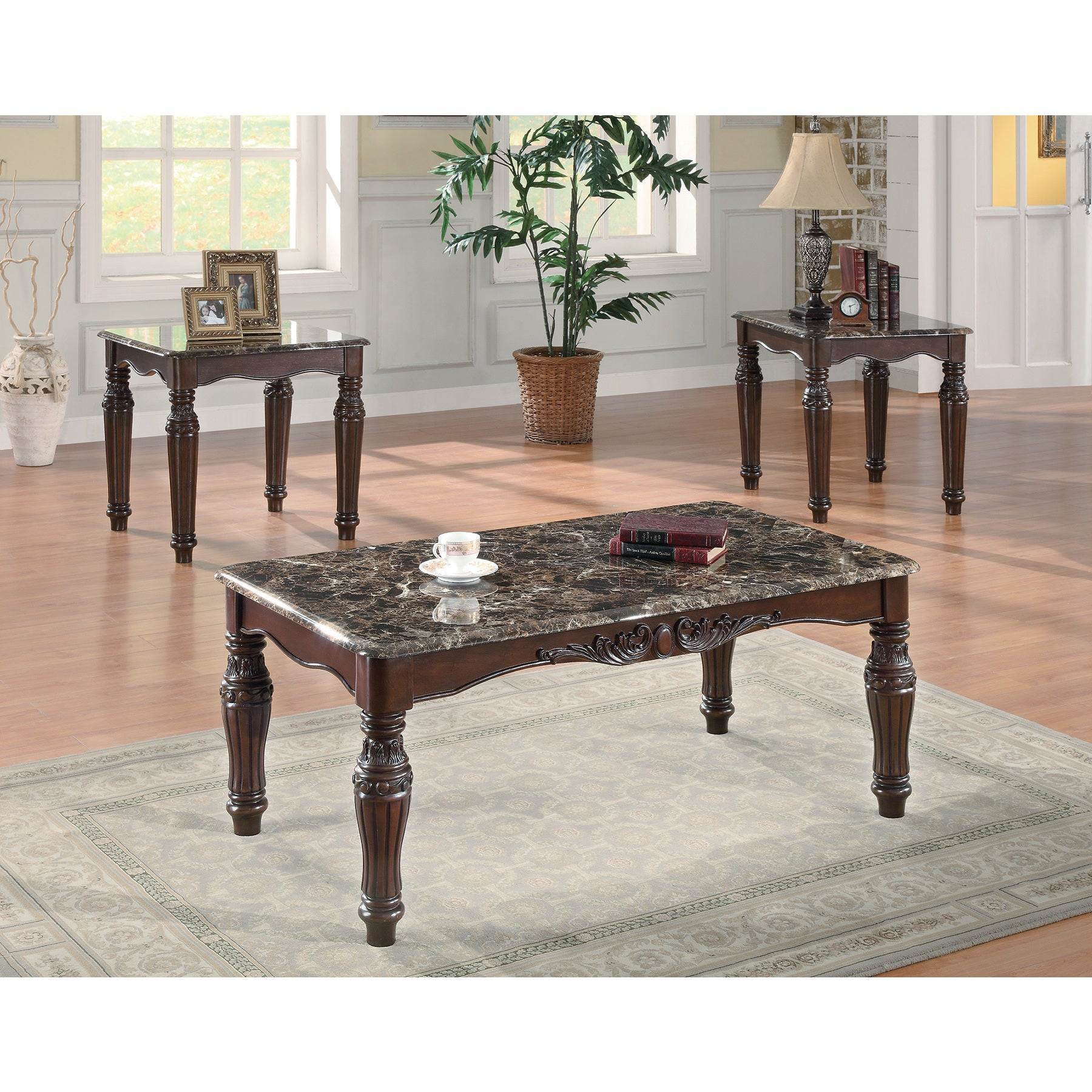 Coaster Furniture Brown Faux Marble Three-Piece Coffee Ta...