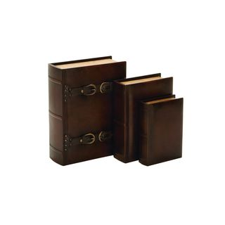 Wood Leather Book Boxes (Set of 3) 9/11/14 Inches High