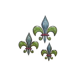 Blue/Green/Red Metal Fleur-de-lis 10-, 12-, and 15-inch Wall Art (Set of 3)