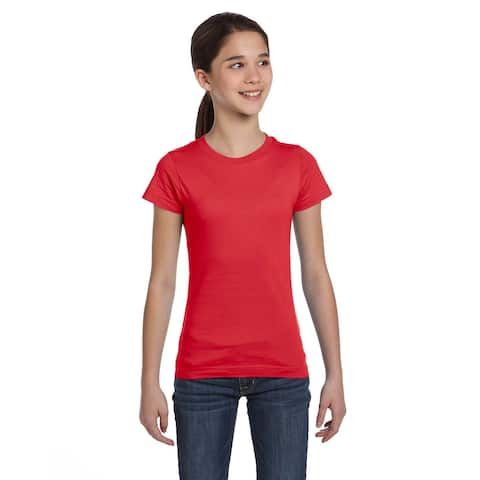 Girls' Red Fine Jersey T-Shirt