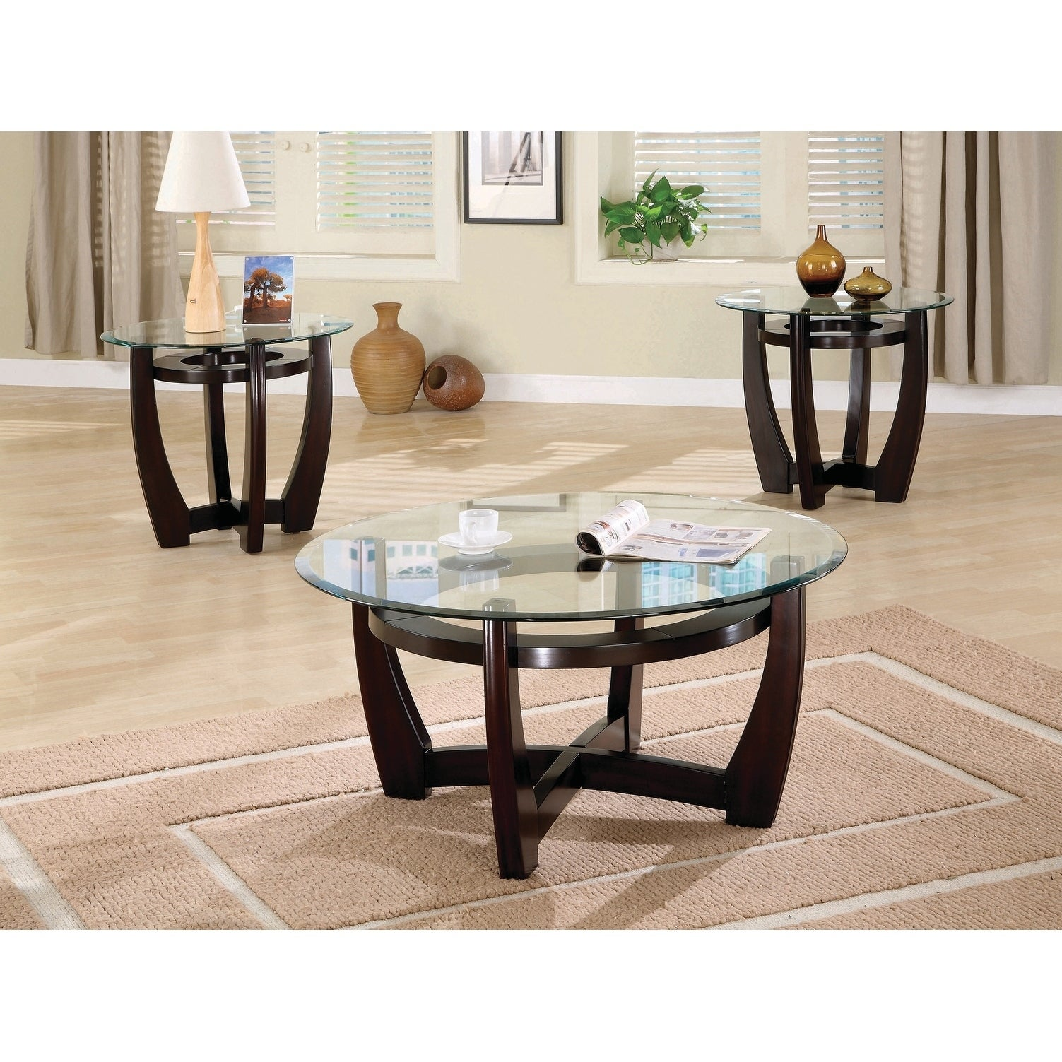Coaster Company Cappuccino 3 Piece Table Set