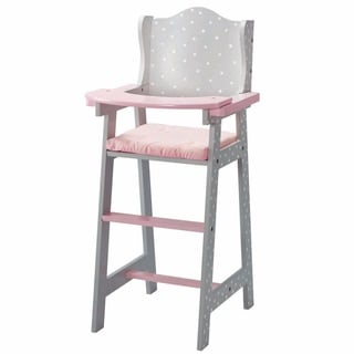 Olivia's Little World Baby Doll Furniture Baby High Chair in Grey Polka Dots