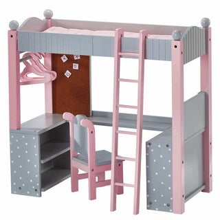 Olivia's Little World College Dorm Double Bunk Desk 18-inch Doll Furniture in Grey Polka Dots