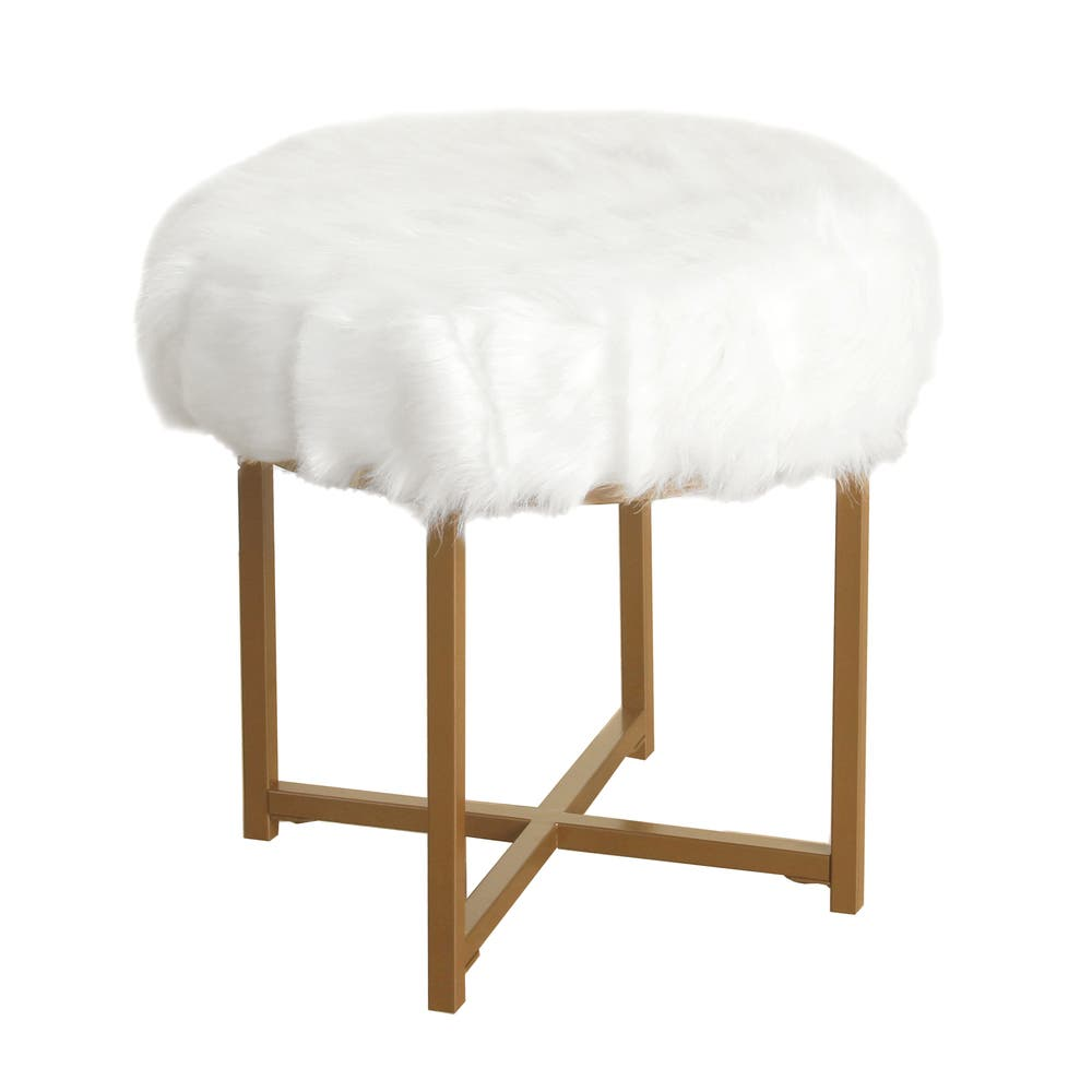 Astonishing Silver Orchid Hartau White Faux Fur Round Stool With Goldtone Metal Base Gmtry Best Dining Table And Chair Ideas Images Gmtryco