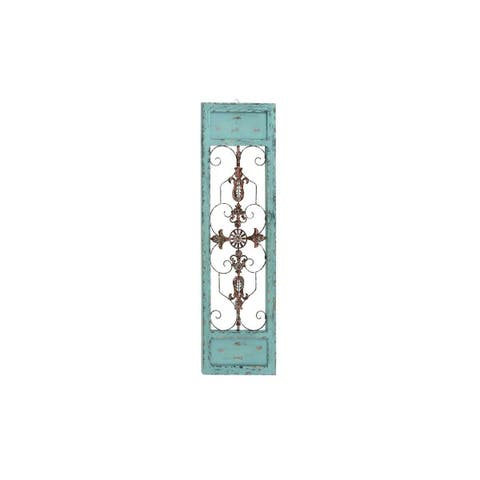 The Curated Nomad Menlo Blue, Brown, and Red Metal 14- x 47-inch Wall Hanging