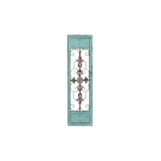 Blue, Brown, and Red Metal 14- x 47-inch Wall Hanging