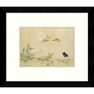 Framed Art Print 'White Rose & Butterflies' 11 x 9-inch