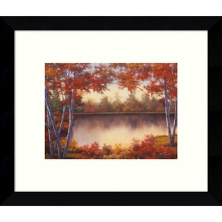 Framed Art Print 'Red & Gold Autumn Landscape' by Diane Romanello 11 x 9-inch