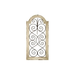 Rustic Distressed Ivory Wash Wood Arched Wall Panel