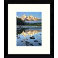 Framed Art Print 'Grand Tetons reflected in water, Grand Teton National Park, Wyoming' by Tim Fitzharris 9 x 11-inch