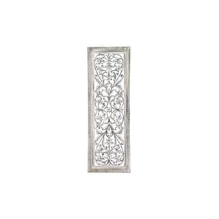 Traditional Carved Burnished Wood 48-inch x 16-inch Wall Panel
