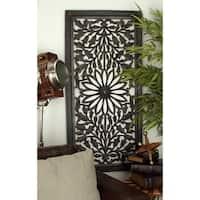 Carved Ebony Finish Wood Botanical Scrollwork Wall Panel