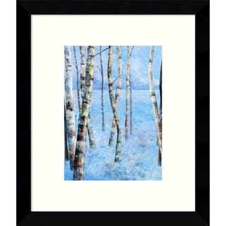 Framed Art Print 'Blue Winter II: Birch Trees' by Kay Daichi 9 x 11-inch