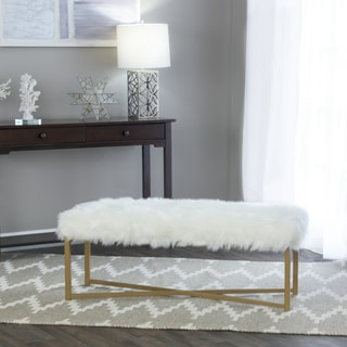 HomePop Faux Fur White Rectangle Bench