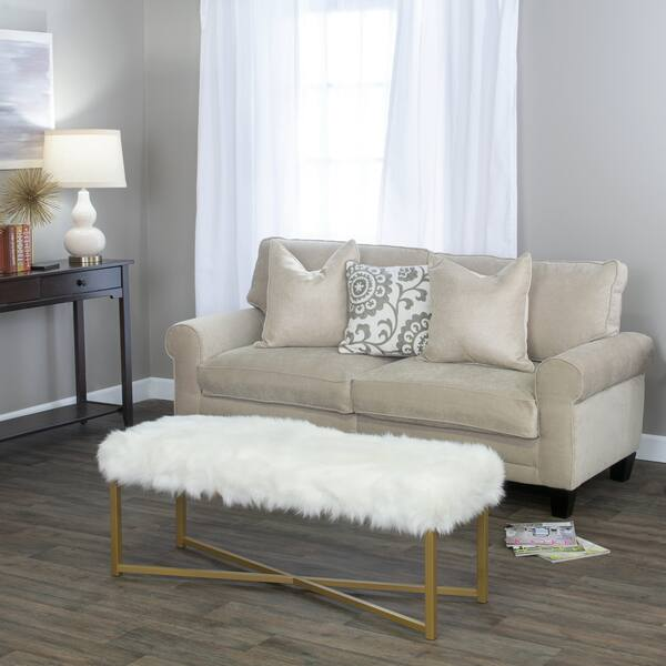 Peachy Shop Silver Orchid Kelly Faux Fur White Rectangle Bench On Uwap Interior Chair Design Uwaporg