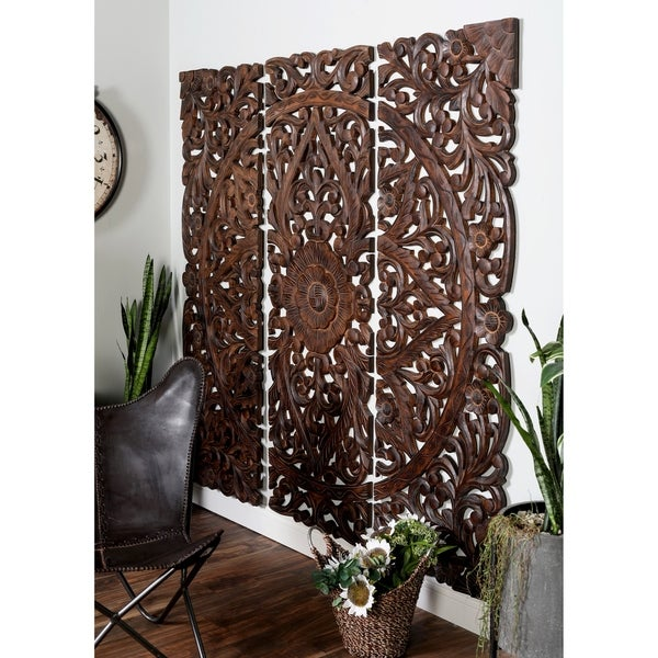 24 X 71 Large Hand Carved Natural Pine Wood Wall