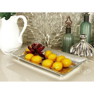 Set of 3 Polished Silver Aluminum Serving Trays