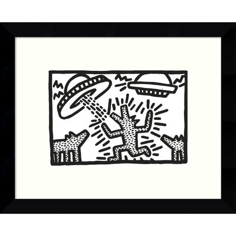 Framed Art Print 'Untitled, 1982 (Dogs with UFOs)' by Keith Haring 11 x 9-inch