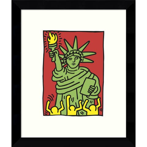 Framed Art Print 'Statue of Liberty, 1986' by Keith Haring 9 x 11-inch