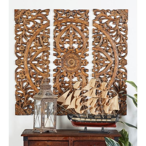 Set of 3 Traditional 36 Inch Wooden Triptych Wall Panels by Studio 350. Opens flyout.