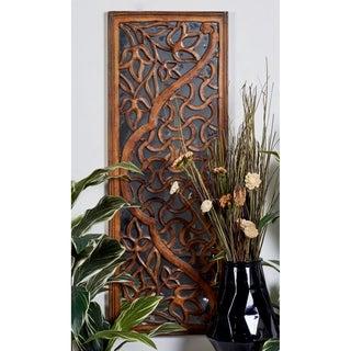 Mahogany Wood/Glass 48-inch x 18-inch Mirrored Wall Panel