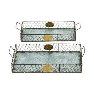 Metal Galvanized Serving Tray (Set of 2)