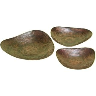 Metal Copper Serving Tray (Set of 3)