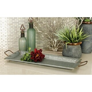 Metal Galvn Serving Trays (Set of 2)