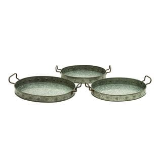 Metal Galvn Serving Trays (Set of 3)