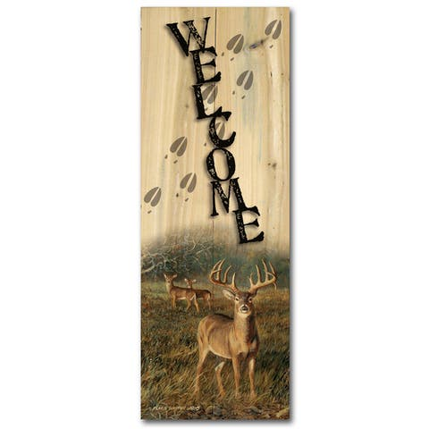 WGI Gallery First Light Buck Indoor/Outdoor Welcome Plaque/Sign Printed on Wood