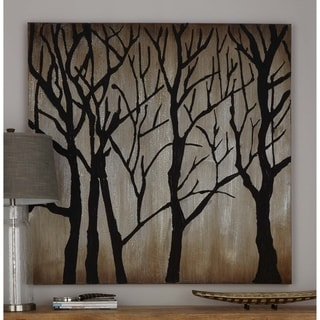 Black Winter Trees Silhouette 47-inch x 47-inch Gallery-wrapped Canvas Art