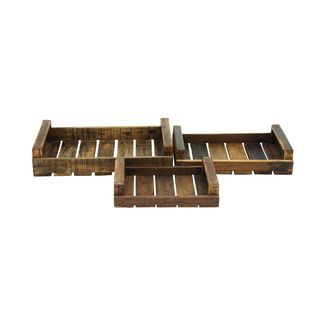 Farmhouse 3-piece Wooden Tray Set