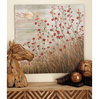 Red and Brown Wooden Canvas Nature-themed Art (40-inch x 40-inch)