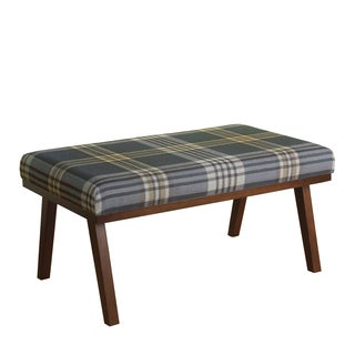 HomePop Mid Mod Plaid Decorative Bench