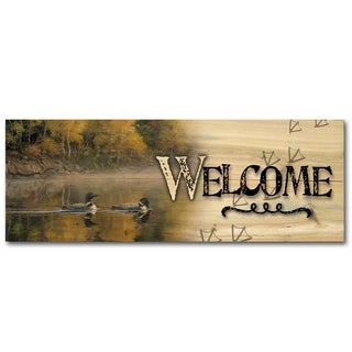 WGI Gallery Autumn Morning Shoreline Indoor/Outdoor Welcome Plaque/Sign Printed on Wood