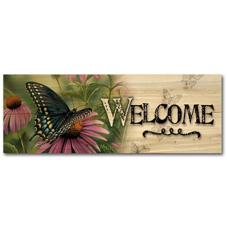 WGI Gallery Black Swallowtail Butterfly Indoor/Outdoor Welcome Plaque/Sign Printed on Wood