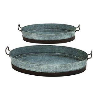 Metal Plntr Serving Tray (Set of 2)
